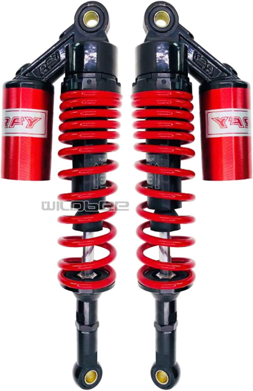 WildBee 360mm 14 Pulgada Universal Amortiguadores Suspensi/ón Trasera Compatible con M/ás ATV Go Kart Quad Motocicleta Negro Rojo