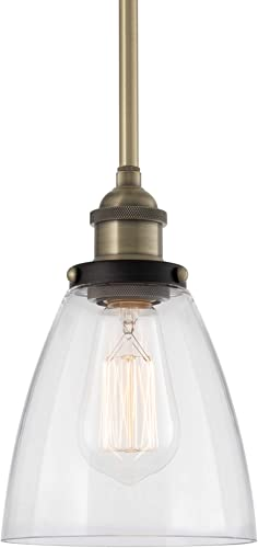 Kira Home Porter 8″ Industrial Farmhouse Mini Pendant Light Clear Glass Shade