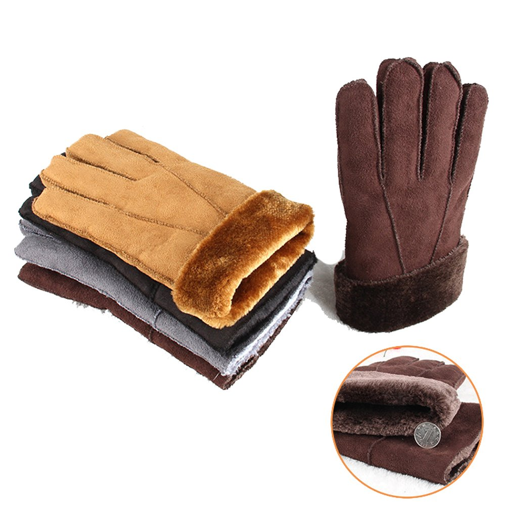 ENCOCO Men Winter Faux Sheepskin Fur Gloves Thick Outdoor Handmade Sewing Leather Finger Gloves