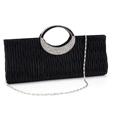 3b353f5634dd Diamante Ring Handle Purse Frill Clutch Evening Shoulder Bag Wedding Party  Bag (black)  Amazon.co.uk  Clothing