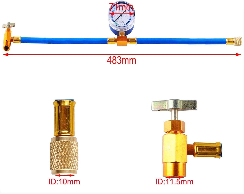 R134a Charging Kit R-134a to R-12//R-22 Port with Gauge R12 to R134a Conversion Kit for A//C Pro Refrigerant BPV31 Piercing Valve for Bullet