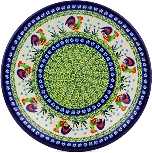Polish Pottery Dinner Plate 11-inch (Country Rooster Theme) Signature - Rooster Polish
