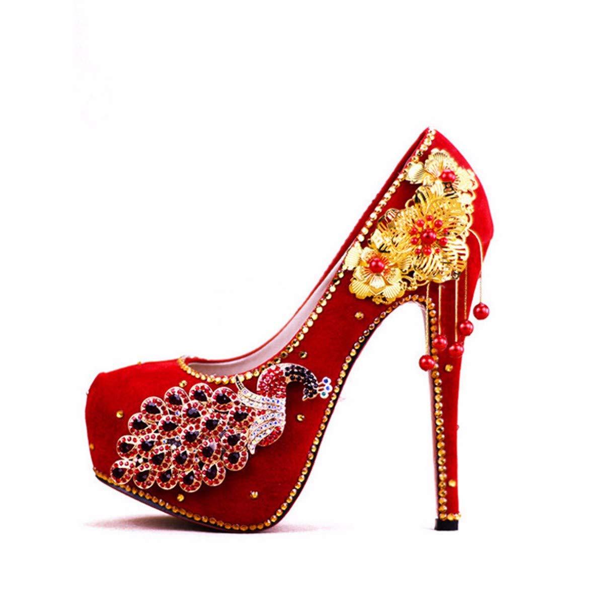 KPHY Damenschuhe/Rote Wedding Schuhe Xiu Wo Kleider Braut Schuhe Fotostudio Kleid Garderobe Einzelne Schuhe 11Cm Und Hohe
