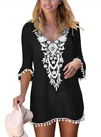 198ba17e415 Actloe Women's Tassel Beach Swimwear Front Crochet Pom Pom Trim Tunic Swimsuit  Cover up Dress Black