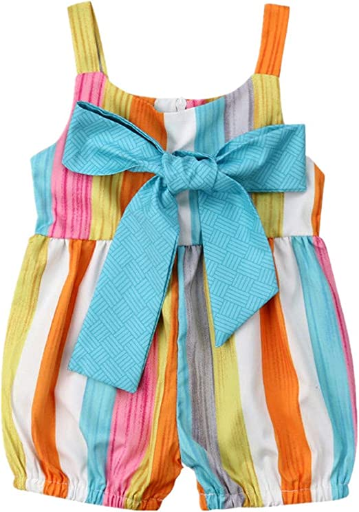 Toddler Girls Sleeveless Rainbow Stripe Romper Jumpsuit Sunsuit Outfits Clothes