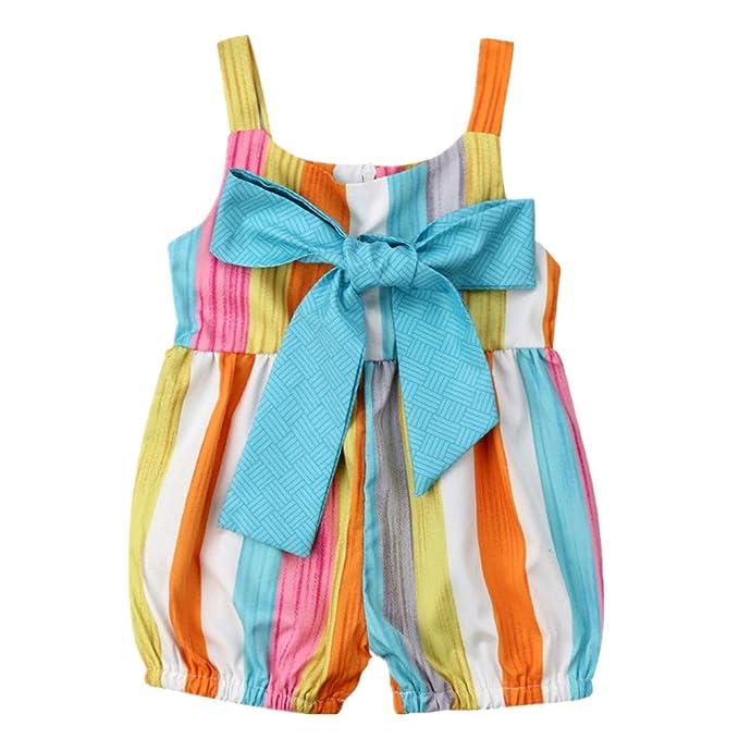 Amazon.com: Bebé recién nacido niña arco iris mameluco mono ...