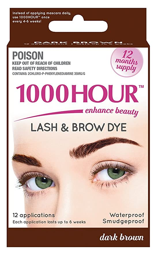 1000 Hour Eyelash & Brow Dye /Tint Kit Permanent Mascara (Dark Brown) by