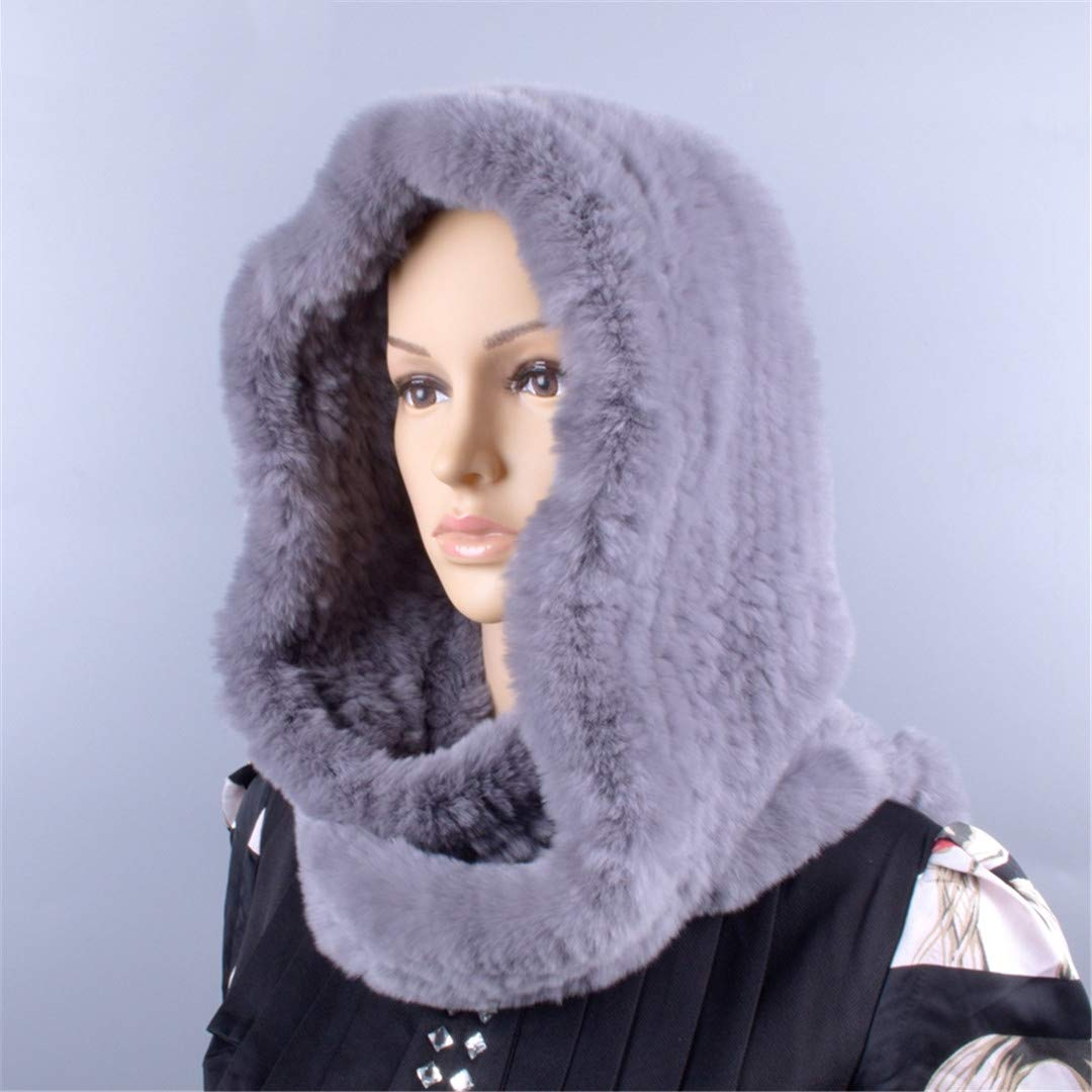 Knitted Fur Hood Real Rex Scarf Hat For Women Winter Snow Warm Large-Knitted Hat Black 56to59cm by Morussnta (Image #4)