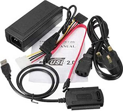 Power-Converter Black Hard Drive Adapter Kit Cable Data USB To IDE//SATA 3In1 US