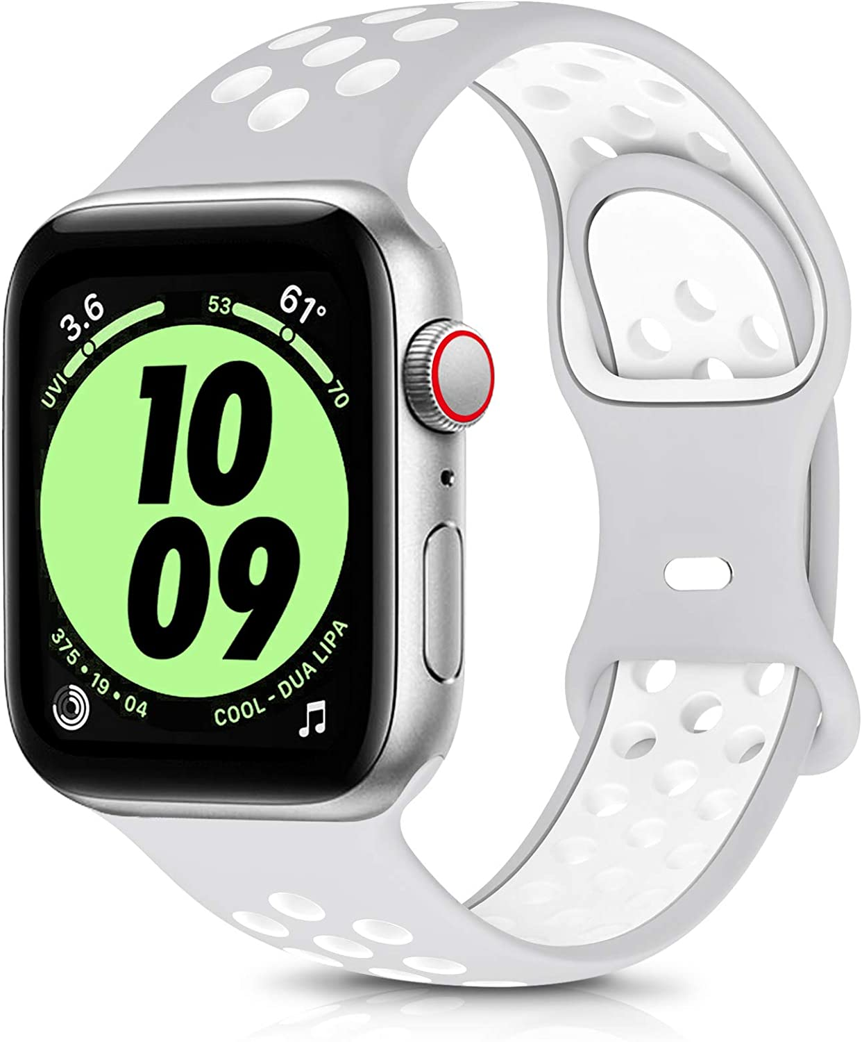OYODSS Sport Bands Compatible with Apple Watch Band 38mm 40mm 42mm 44mm, Breathable Soft Silicone Replacement Wristband Strap Compatible with iWatch Series 6 5 4 3 2 1 SE Women Men Grey&White