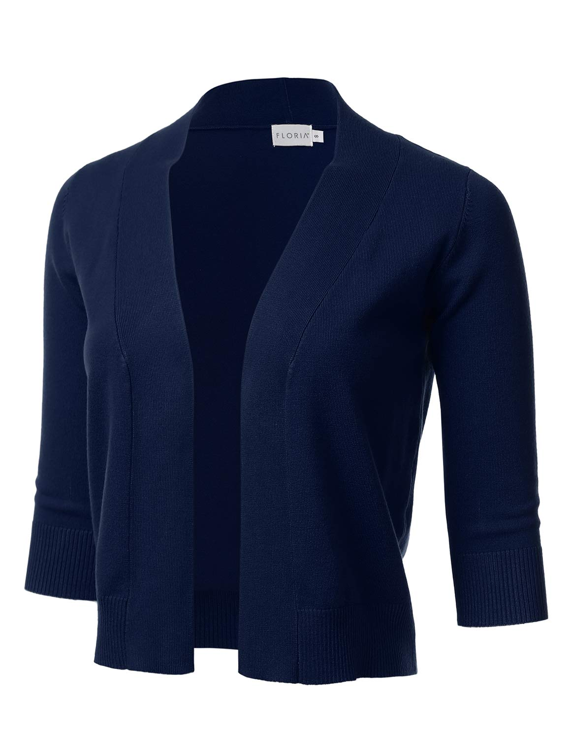 FLORIA Womens Classic 3/4 Sleeve Open Front Cropped Cardigan Navy L by FLORIA