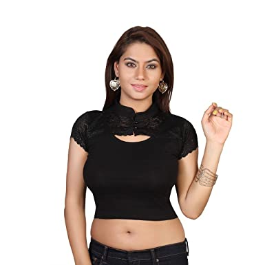 5d4bc257298 Areum Black Cap Sleeve Collar Neck Cotton Lycra Stretchable Readymade saree  Blouse