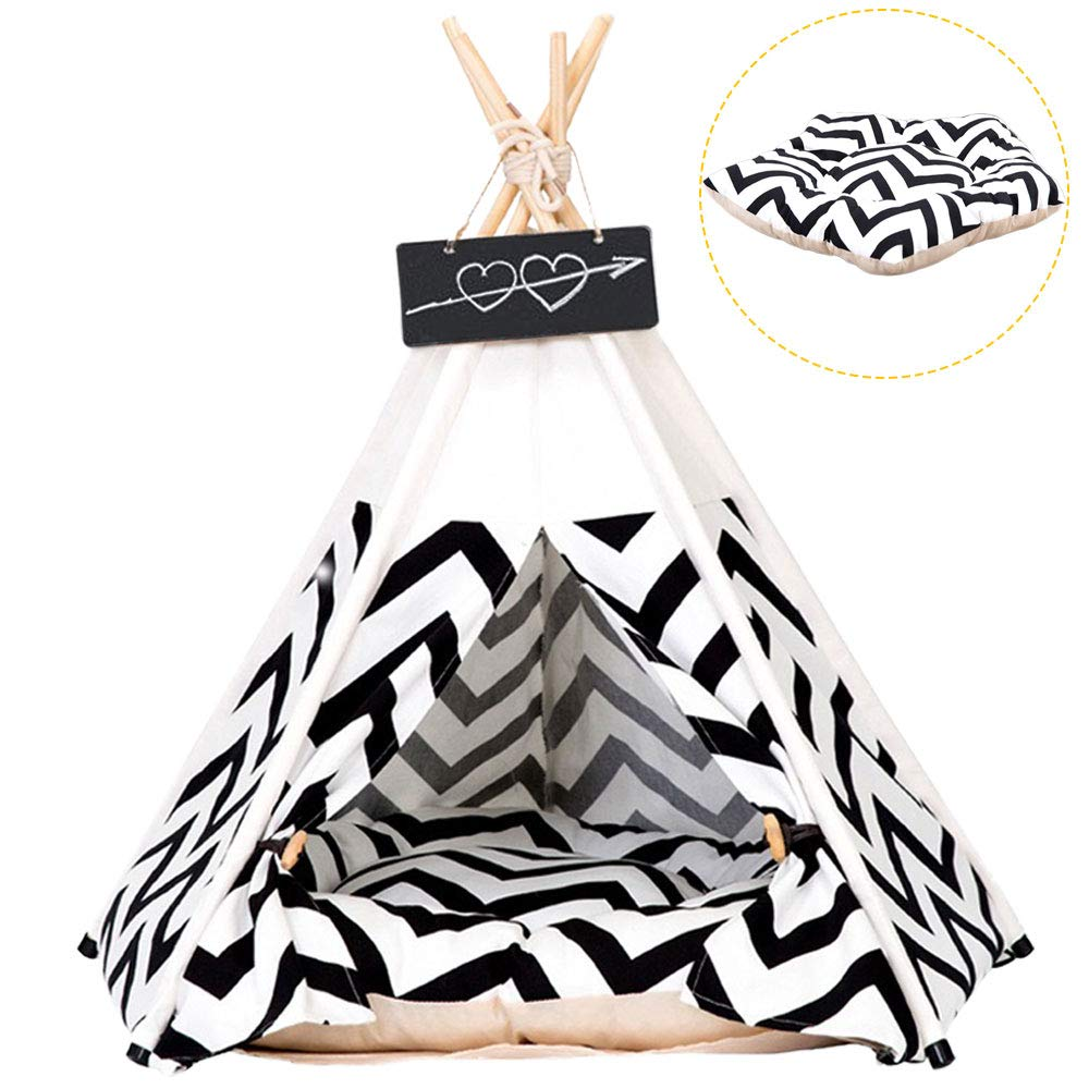 Pet Tent for Dogs Puppy Cat Bed White Canvas Dog Cute House Pet Teepee with Cushion 24inch Indoor Outdoor by Arkmiido