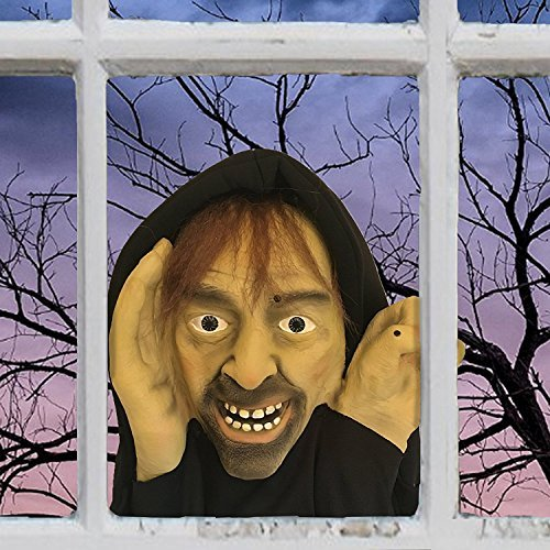 Scary Peeper - Halloween Animated Decoration Prank with Creepy Face, Knocks on Window - Funny Motion Activated Gag Prop for Haunted House ()