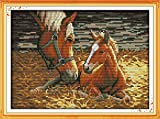 Joy Sunday Stamped Cross Stitch Kits - Counted Cross Stitch Kit, Cross-Stitching Patterns Two horses 11CT Pre-printed Fabric - DIY Art Crafts & Sewing Needlepoints Kit for Home Decor 15''x11''