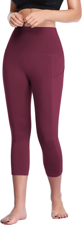 Cadmus Womens High Waist Tummy Control Leggings with Two Pockets