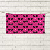 Pearls floral hand towels Bow Ties with Hearts Feminine Love Valentines Day Romantic Theme Dotted BackgroundCustom towel Pink Black