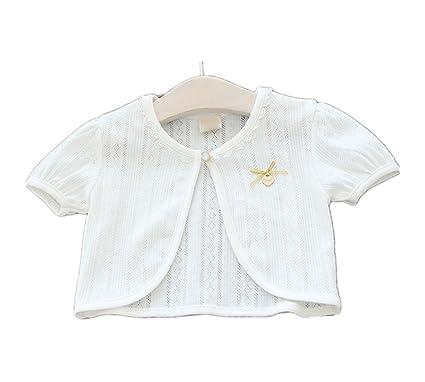 d8ef4e56b0e07 Candykids ガールズ女の子 ボレロ カーディガン 半袖 子供 女の子 用 ホワイト ピンク 薄手 柔らか カーデ 女の子 フォーマル