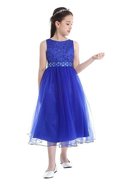 YiZYiF Vestido Fiesta Boda Niñas Vestido Tutú Princesa Encaje Floral Vestido Ceremonia Largo Cintura con Lentejuelas Traje Bautizo Comunión 2-14 Años