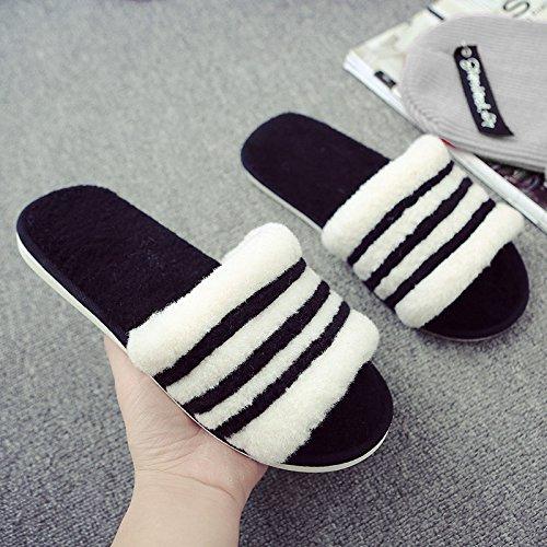 Cotone fankou pantofole coppia femminile spesso soggiorno invernale pantofole parola maschio ,39/40, nero
