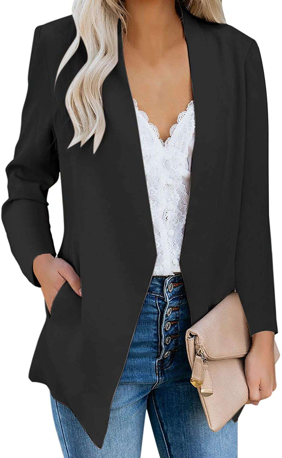 GRAPENT Women's Open Front Business Casual Pocket Work Office Blazer Jacket Suit