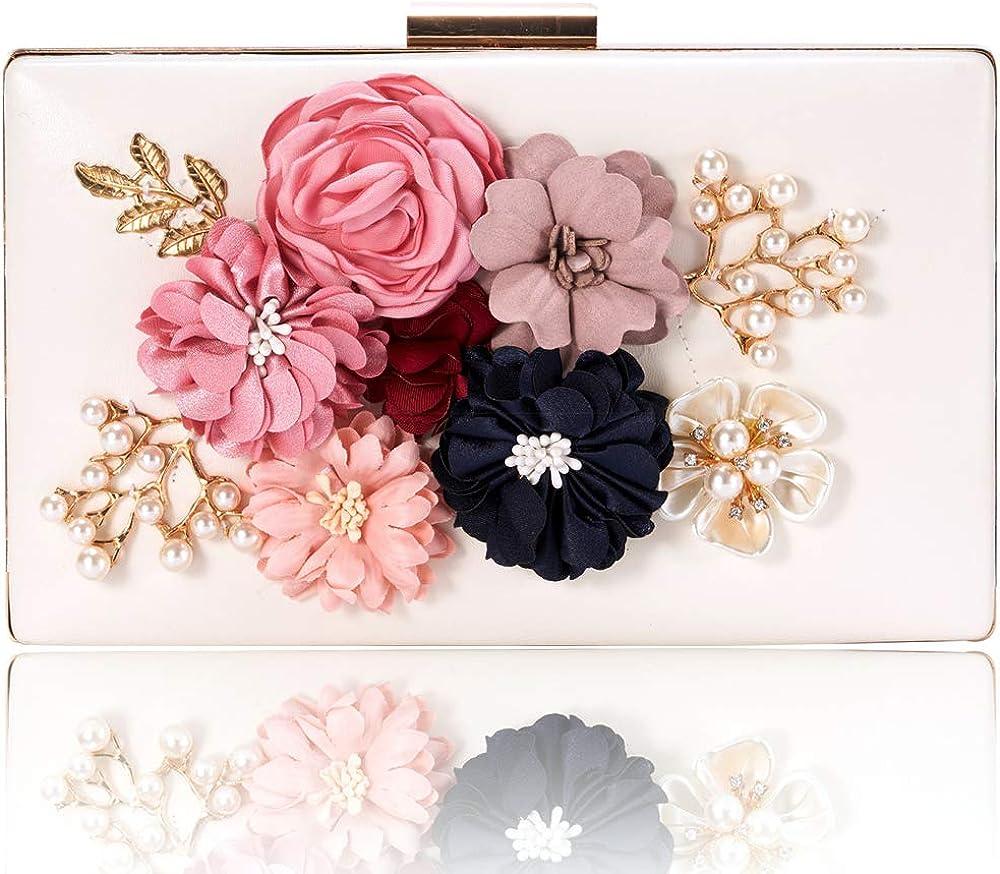 Women Evenig Bag Clutch Flowers Wedding Prom Purse Bridal PU Handbag Party Bags