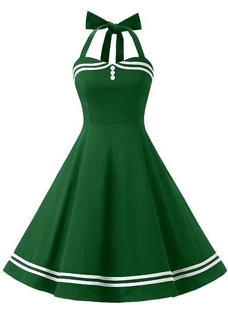Timormode Vestido Corto Vintage 50s Cuello Halter Vestido De Fiesta Rockabilly Mujer Armygreen XS