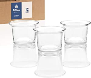 Royal Imports Candle Holder Glass Votive for Wedding, Birthday, Holiday & Home Decoration, Oyster, Set of 12 - Unfilled