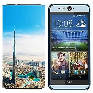 KLONGSHOP // Cubierta de piel con cierre a presión Shell trasero duro de goma Protección Caso - Burj Dubai Khalifa - HTC Desire Eye M910x //