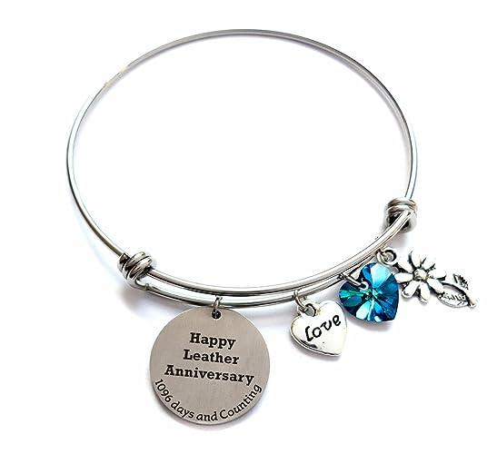 amazon com 3 year wedding anniversary bangle bracelet with blue