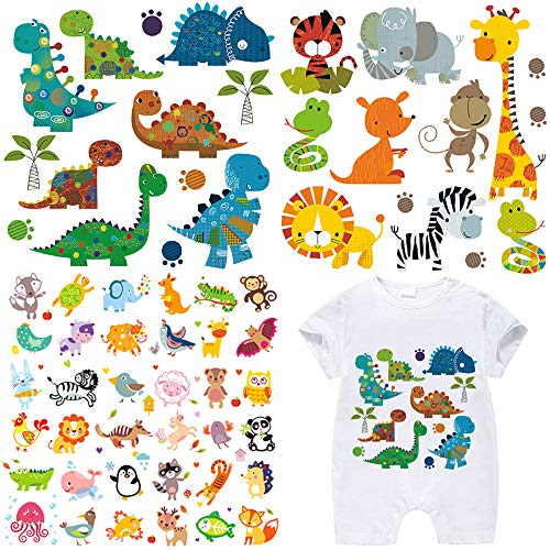 - Kids Iron on Transfers Patches Set 3 Sheets Assorted Cute Dinosaur Animal Iron on Appliques Patches DIY Heat Transfer Stickers for T-Shirt Clothing Jeans Backpacks
