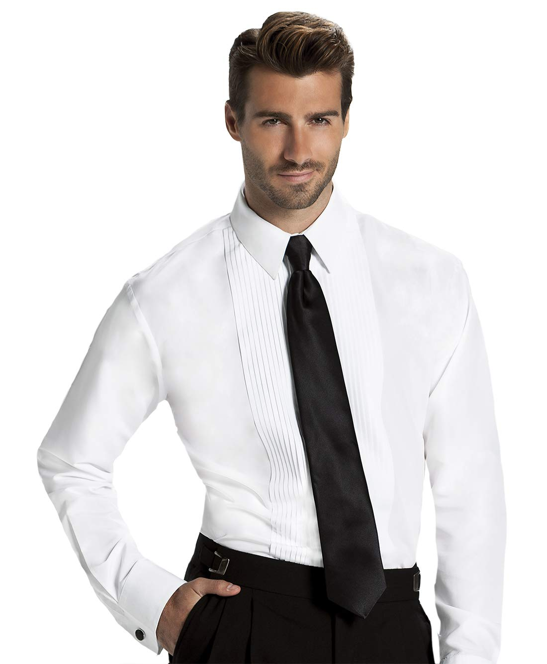 Men's Fitted 1/4 Inch Pleated Tuxedo Shirt, Laydown Collar Wing Collar by Formal Shirts