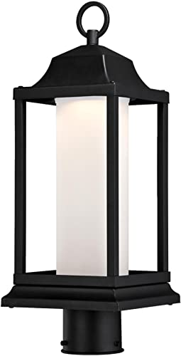 Westinghouse Lighting 6347300 Honey Brook One-Light LED Outdoor Post Top Fixture with Frosted Glass, Textured Black Finish