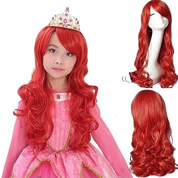 Amazon.com: Ani·Lnc Peluca de pelo largo rojo para mujer ...