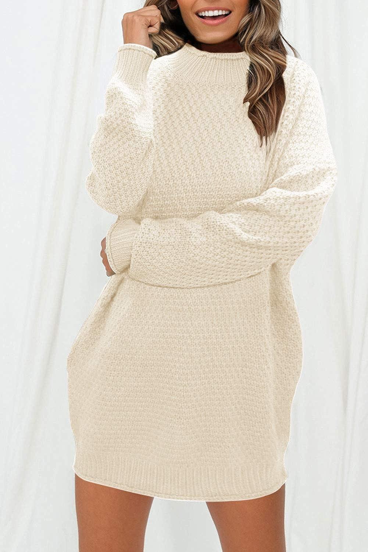MEROKEETY Womens Turtleneck Long Sleeve Sweater Casual Loose Knit Sweater Dress with Pocket