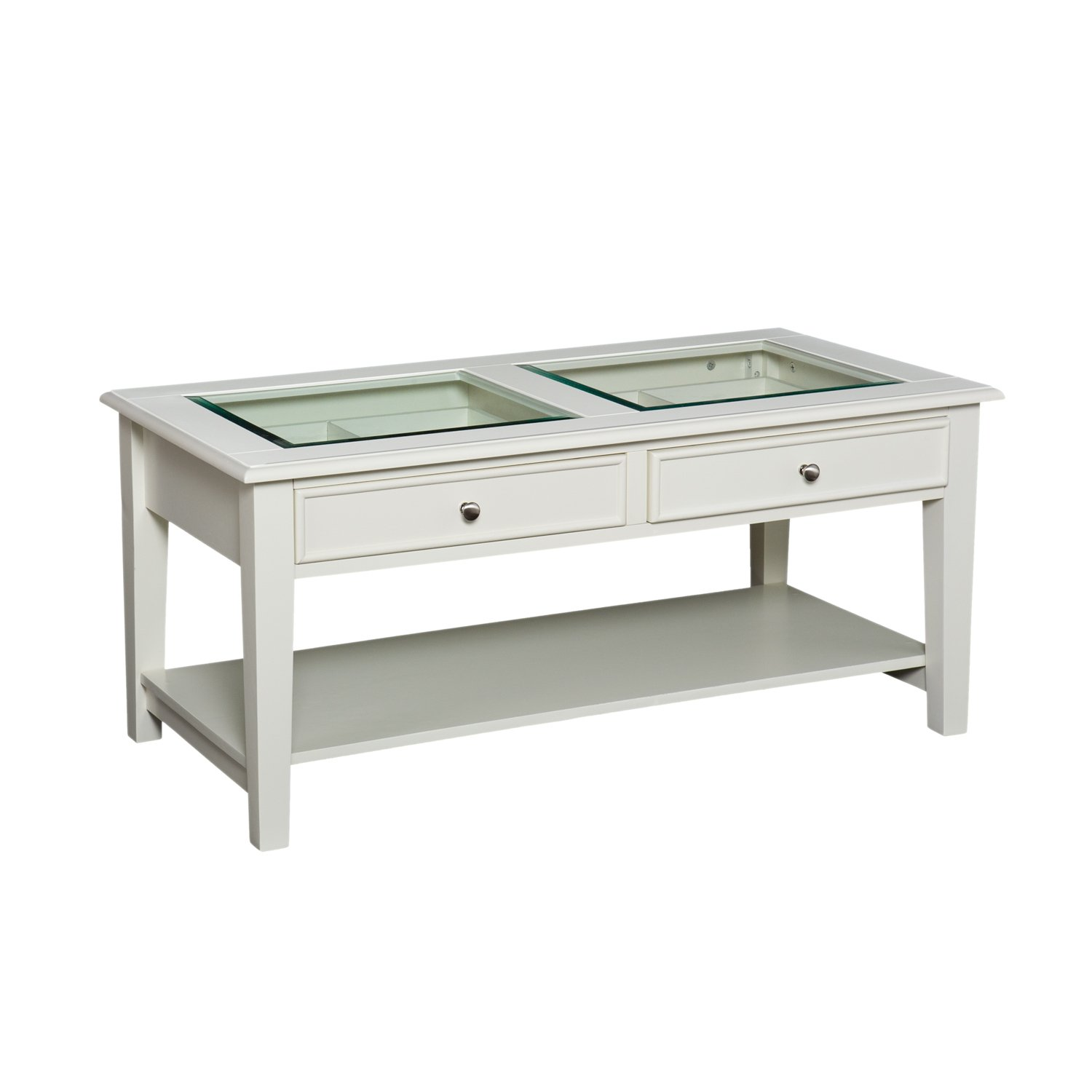 Amazon Wood and Glass Cocktail Coffee Table with 2 Drawers
