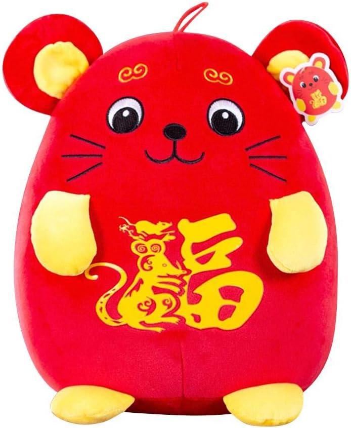 Maliyaw Adorno de Rata de año Nuevo Chino 2020, Juguete de Mascota de Peluche de ratón de Felpa de Buena Suerte para la decoración del hogar, decoración del Festival de año Nuevo de la Rata