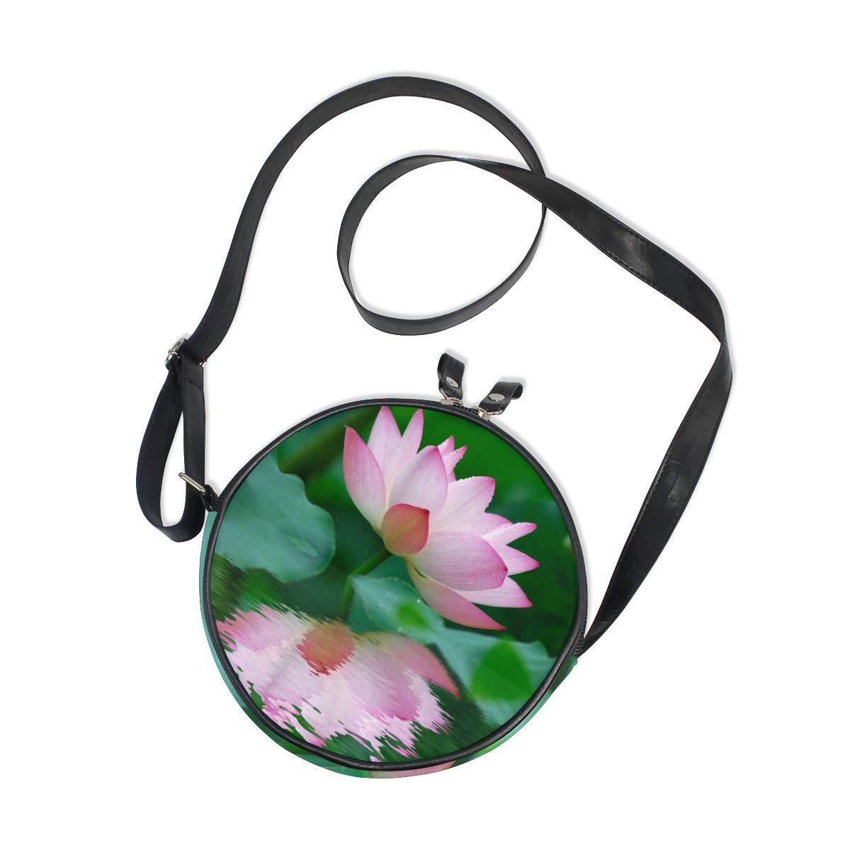 KEAKIA Pink Lotus Round Crossbody Bag Shoulder Sling Bag Handbag Purse Satchel Shoulder Bag for Kids Women