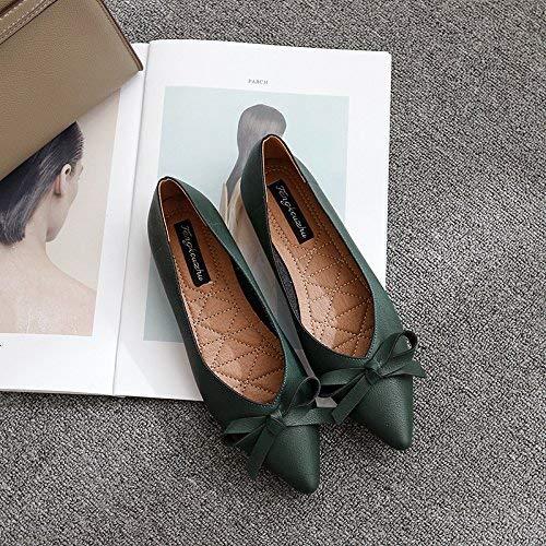 Eeayyygch Einzelne leichte Schuhe weibliche Spitze leichte Einzelne Lederschuhe Fliege flach mit eleganten Vier Schuhen Freizeitschuhe (Farbe   36 Größe   Schwarz) 8373fe