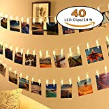 LED Photo String Lights - Neretva Battery Operated Photo Clips Lights, Twinkle Fairy String Lights, Ideal Gift for Christmas Wedding Dorm Bedroom Decor,Warm White (40 LEDs Photo Clips String Lights)