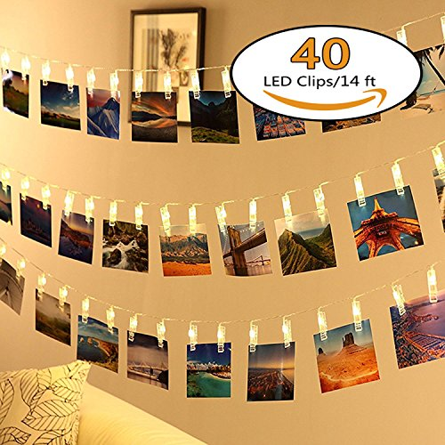 40 LED Photo Clips String Lights - Neretva Battery Operated Photo Clips Lights, Twinkle Fairy String Lights, Ideal Gift for Christmas Wedding Dorm Bedroom Decor,Warm White by Neretva