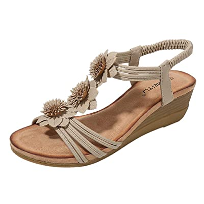 Dainzusyful Summer Sandals for Women, Beach Sandals Non-Slip Wedge Bohemian Sandals Open Toe Elastic Roman Shoes: Clothing