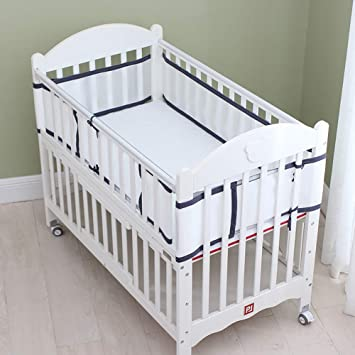 Mesh Crib Liner for Standard Baby Crib Breathable Crib Bumper Grey
