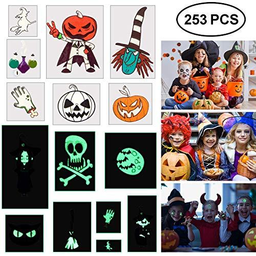Bulk Halloween Temporary Tattoos (Blasoul Halloween Temporary Tattoos 253PCS Monster Tattoos Children Tattoos Waterproof Halloween Tattoo Stickers Noctilucent Stickers Bat Black Skeleton Web Zombie Ghost Tattoo Sticker for Boys)