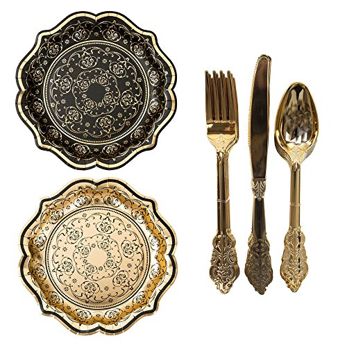 Talking Tables Porcelain Baroque Vintage Halloween Party Bundle | Designer Foiled Party Plates & Disposable Party Cutlery Set, Gold ()