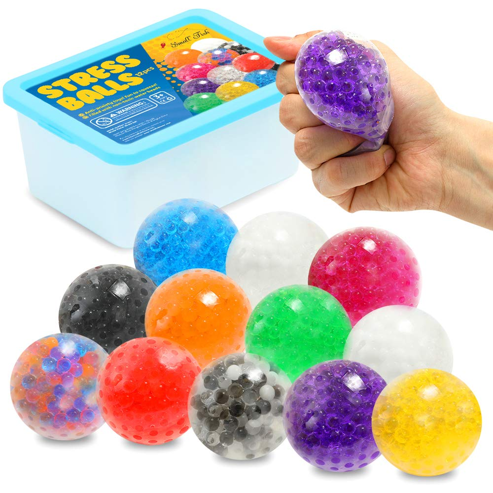 Sensory Stress Ball Toy Set for Kids and Adults, 12 Pack Stress Relief Fidget Balls Filled with Water Beads to Relax, Decompress, and Focus, Squishy Toys for Children with Autism, ADD and ADHD