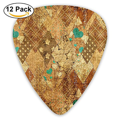 Newfood Ss Murky Vintage Geometric Diamond Triangle Formed Patchwork Quilt Motif Guitar Picks 12/Pack Set