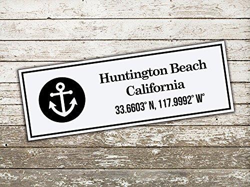 Handmade Latitude Longitude Wood Sign Huntington Beach Lat. Long Wood Sign ()