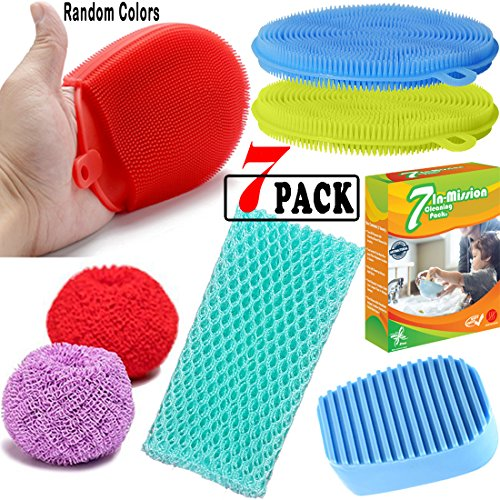 Silicone Dish Sponge Scrubber, Antibacterial Cleaning Food-grade Brush for Kitchen dishwash, Non-stick Bowls, Pans, pots |By EROS (Bundle-7 items:4 Assorted Silicone Brushes+2 Scourers+Scrubber cloth)
