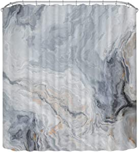 Home Queen Marble Ink Texture Bathroom Shower Curtain with Metal Hooks, Waterproof Fabric Bathroom Decor Curtain with Weighted Rubber at The Bottom, 71 X 71 Inches